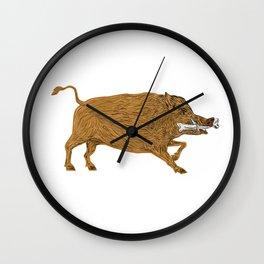 Wild Boar Razorback Bone In Mouth Walking Retro Wall Clock