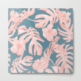 Tropical Palm Leaves and Hibiscus Pink Teal Blue Metal Print
