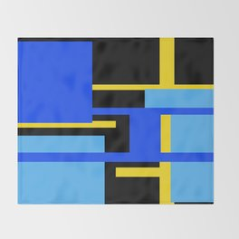 Rectangles - Blues, Yellow and Black Throw Blanket