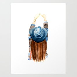 Girl with the Blue Hat Art Print