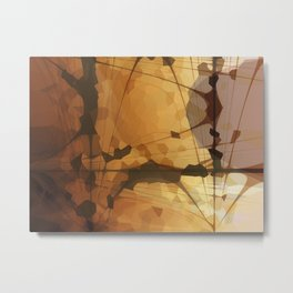 Abstract Art- Brown Art- Sacred Geometry Art- Catana- Pattern Art- Yellow- Beige Metal Print