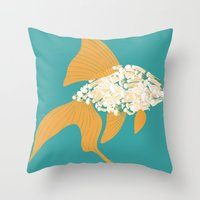 goldfish Throw Pillows featuring Goldfish by Julia Kisselmann