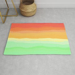 Rainbow - Cherry Red, Orange, Light Green Rug