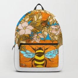 Bumblebee In Wild Rose Wreath Backpack