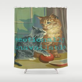 Vintage Paint By Number PBN Unavailable Cat Shower Curtain