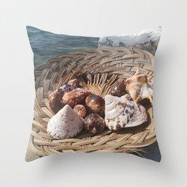 shells on woven basket Throw Pillow
