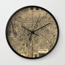 Aerial View of Waterbury, Connecticut (1899) Wall Clock