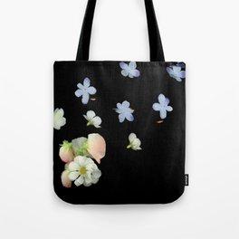 Sweet Pea, Daisy, Hydrangea Glitch Tote Bag
