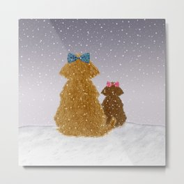 Cute Dogs Winter Scene Metal Print