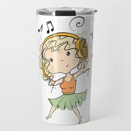 Girl With Headphones Travel Mug