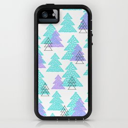 Cute winter design with mosaic pine trees. iPhone Case