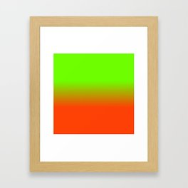 Neon Green and Neon Orange Ombré  Shade Color Fade Framed Art Print
