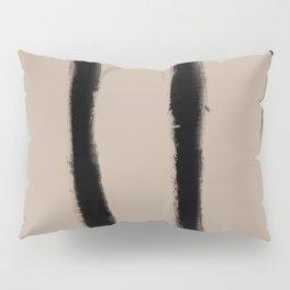 Medium Brush Strokes Vertical Black on Nude Pillow Sham