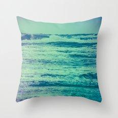 Ocean Waves - Blue Teal Sea in California Throw Pillow