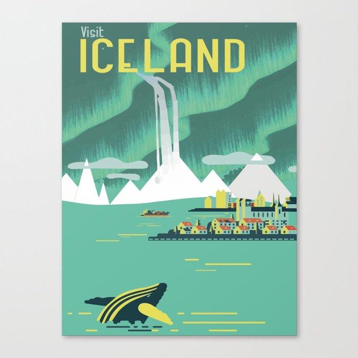 Vintage Mid Century Modern Iceland Scandinavian Travel Poster Ocean Whale Winter Village Leinwanddruck