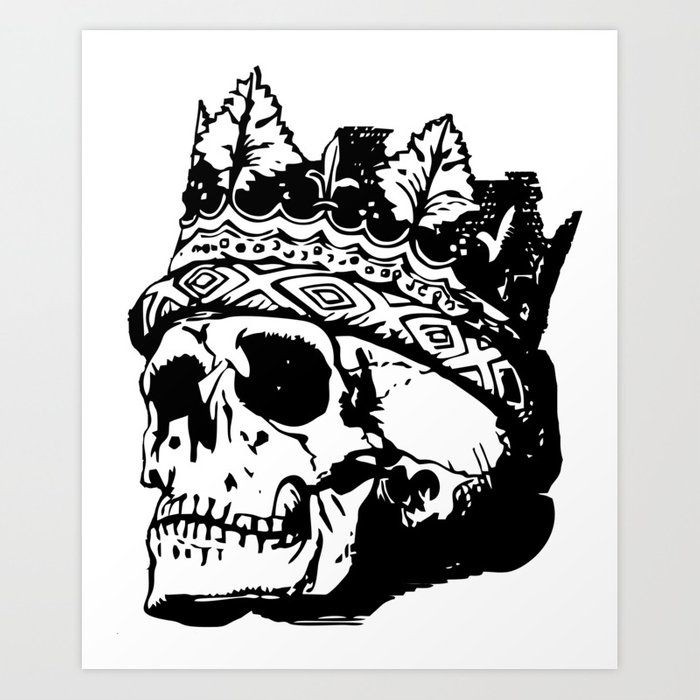 Skull With Crown Art Print By Moxmox Society6