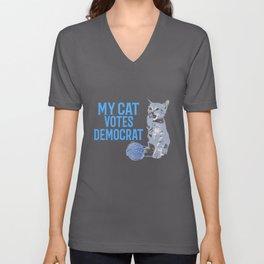 My Cat Votes Democrat  Unisex V-Neck