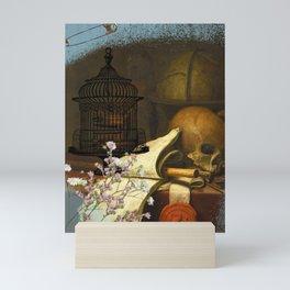 Skull and cage Mini Art Print