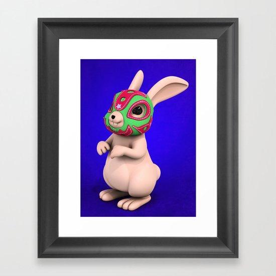 Lucha Rabbit -Grey Brother  Framed Art Print
