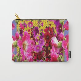 BLUE-GREY PINK HOLLYHOCKS GARDEN PARTY Carry-All Pouch