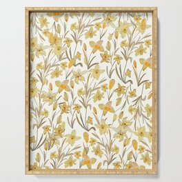 Yellow Floral Pattern Serving Tray