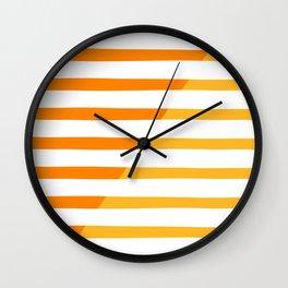 Beach Stripes Orange Yellow Wall Clock