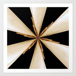 Black, White and Gold Star Art Print