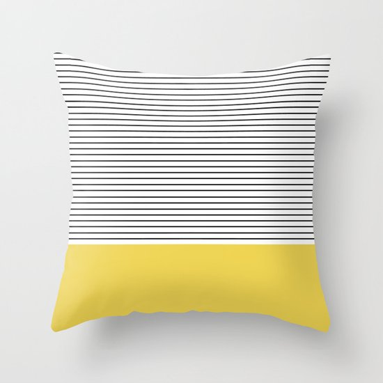 MINIMAL Green Stripes Throw Pillow