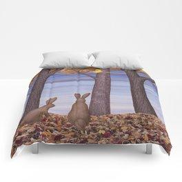 brown bunnies in autumn Comforters