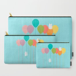 Fluffy bunnies and the rainbow balloons Carry-All Pouch