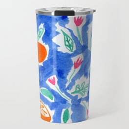Oranges and Flowers in Blue Travel Mug