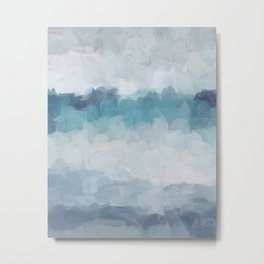 Aqua Teal Turquoise Sky Blue White Gray Abstract Art Modern Painting Metal Print