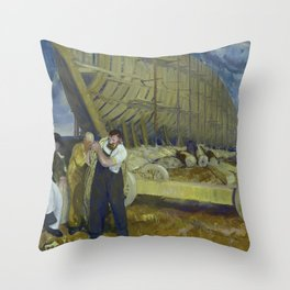 """George Wesley Bellows """"Builders of Ships"""" Throw Pillow"""
