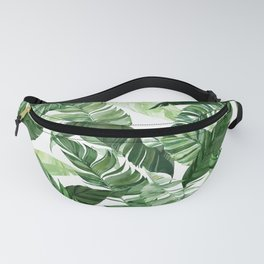 Green leaf watercolor pattern Fanny Pack