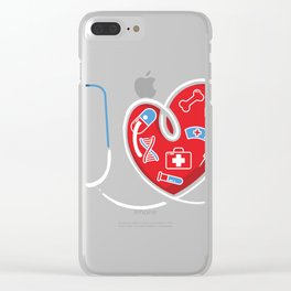 Funny Nurse Valentines Day Stethoscope & Heart Gift design Clear iPhone Case
