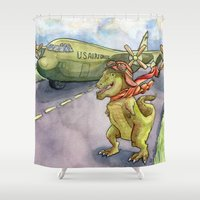 pilot Shower Curtains featuring Tyranosaurus Pilot by Theresa Lammon