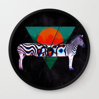 zebra Wall Clocks featuring Zebra by Ali GULEC