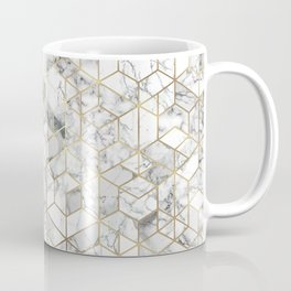 White marble geomeric pattern in gold frame Coffee Mug