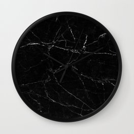 Black Marble Print Wall Clock