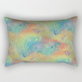 Rainbow Sparkles Leaves Flowers Rectangular Pillow