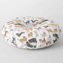 Dogs Fun Watercolor Floor Pillow