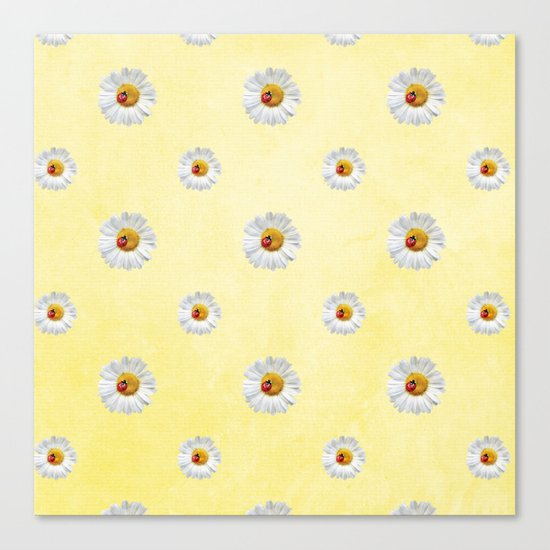 Daisies in love- Yellow Daisy Flower Floral pattern with Ladybug on #Society6 Canvas Print