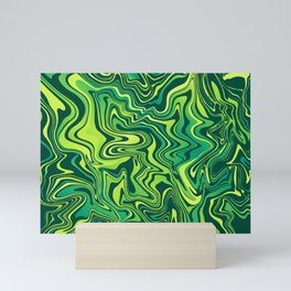 Green Lime Marbled Agate Mini Art Print