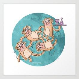 Funny Monkeys Art Print