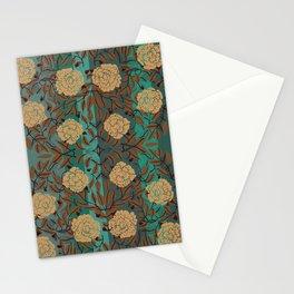 Caramel Roses & Foliage on Stripes By Danae Anastasiou Stationery Cards