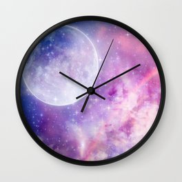 Pastel Celestial Skies Wall Clock