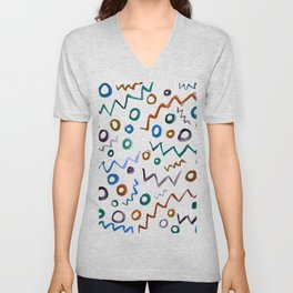 Zigzags and Circles Unisex V-Neck