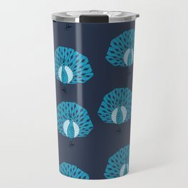 Peacock illustrated pattern by andrea lauren navy and blue bird gifts peacocks Travel Mug