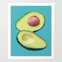 avocado Art Prints featuring Avocado by MagentaRose (UK)