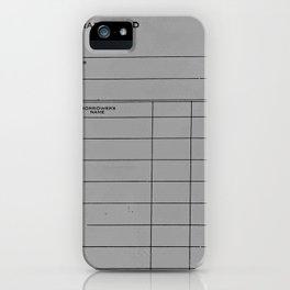 Library Card BSS 28 Gray iPhone Case